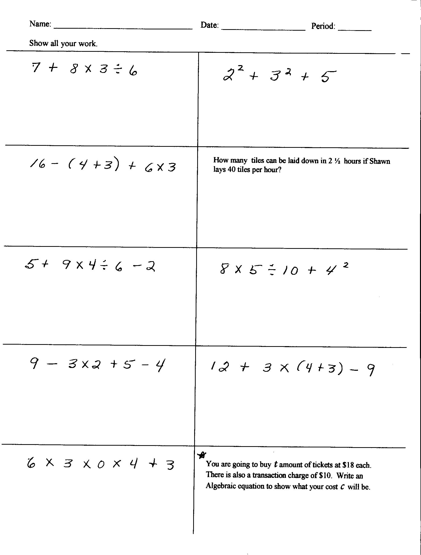 Math Worksheets For 5th Grade Order Of Operations