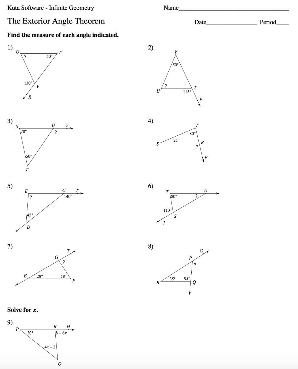 Kuta Geometry Worksheet Answers
