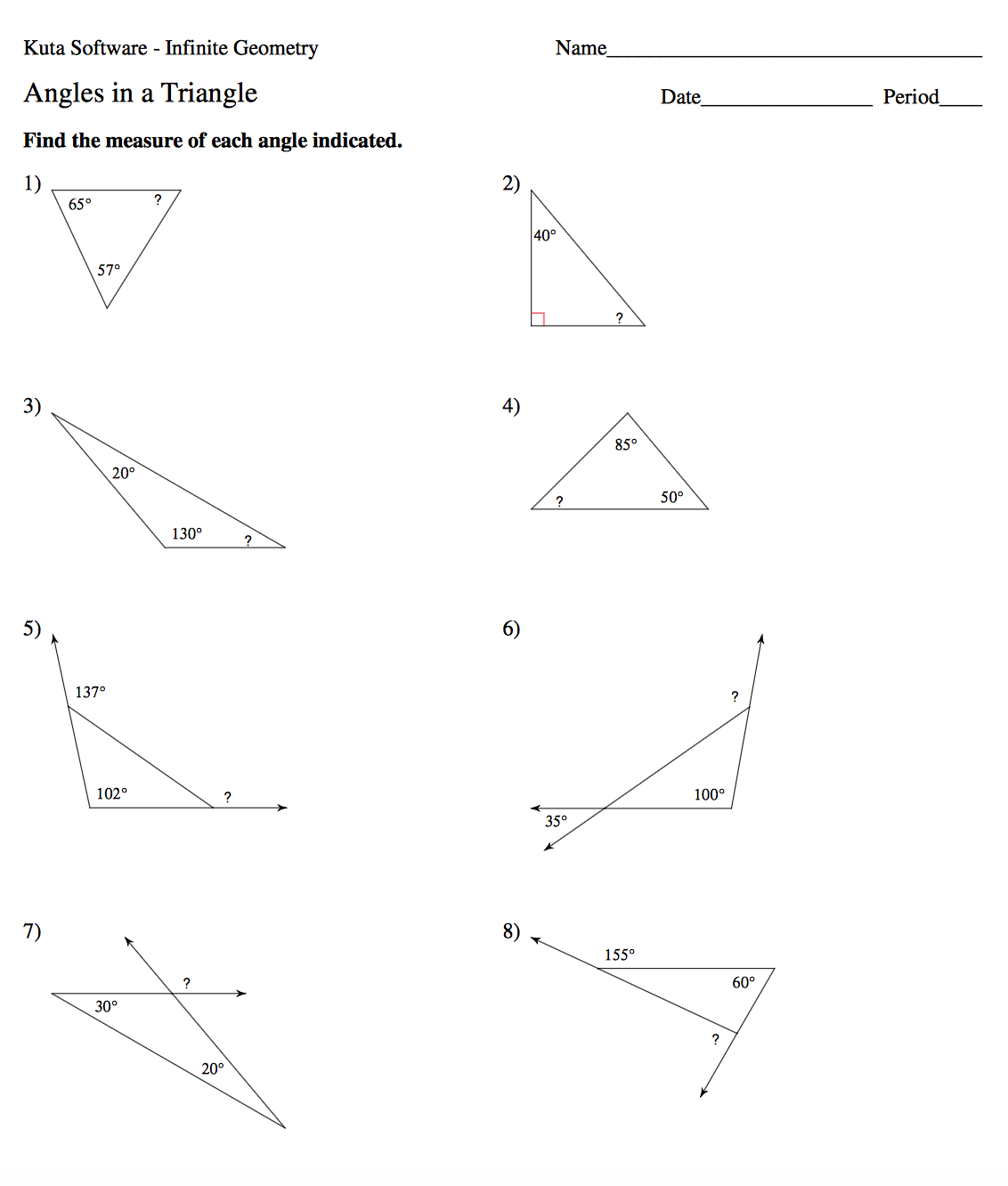 Exterior Angles Of A Triangle Worksheet Delibertad – Exterior Angle Theorem Worksheet