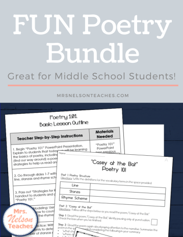 A Fun Poetry Unit for Middle School Students.