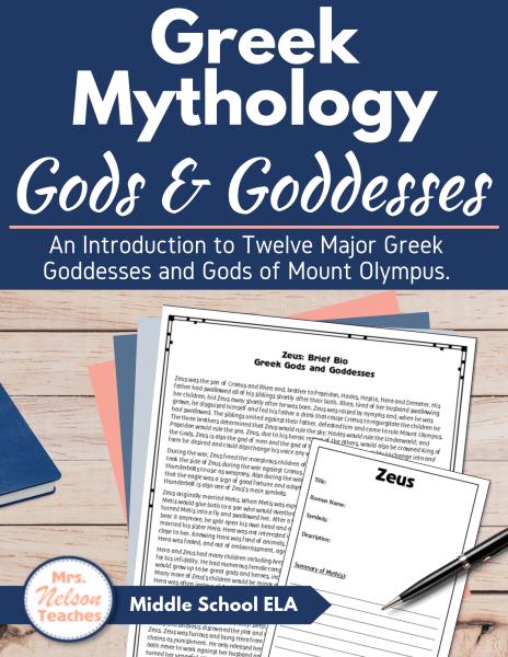 Lesson Plans for Each of the Twelve major gods and goddesses from Greek Mythology.
