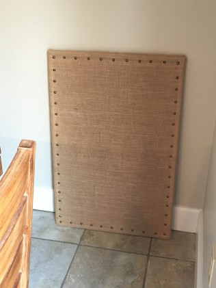 completed burlap covered bulletin board!