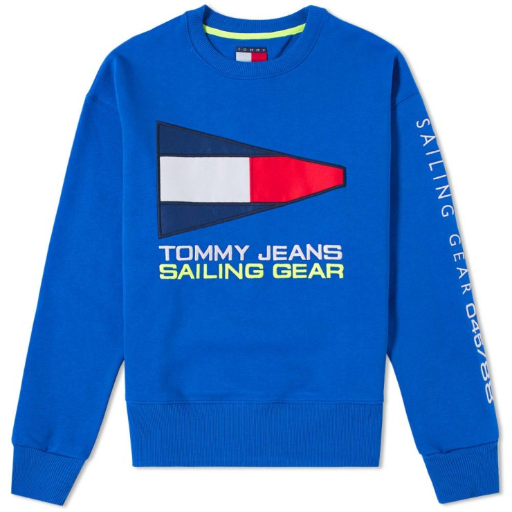 Tommy Jeans Sailing Logo Crewneck in Blue