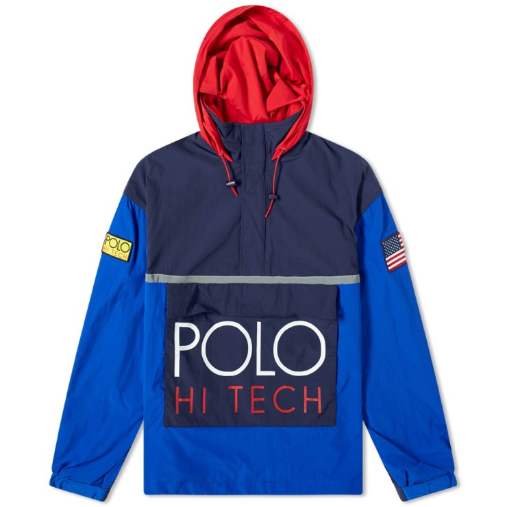 Polo Ralph Lauren Hi-Tech Popover Hoody in Blue, Navy & Red