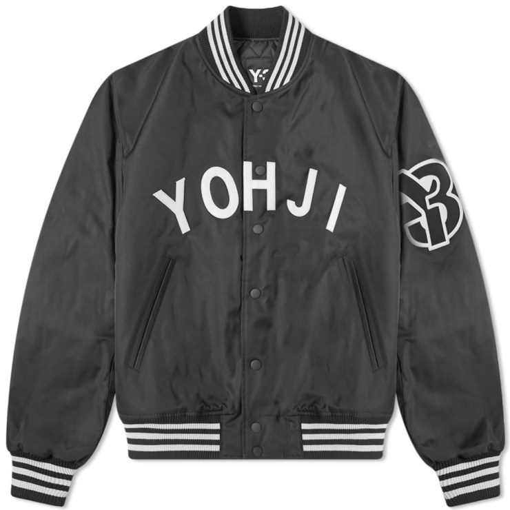 Y-3 Yohji Letters Bomber Jacket Black & Ecru