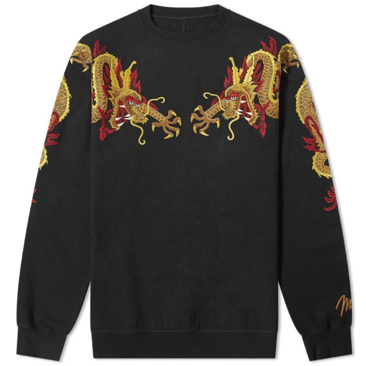 Maharishi Sun Dragon Embroidered Crewneck Sweatshirt in Black