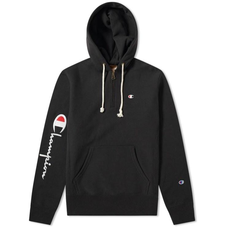 Champion Reverse Weave Half-Zip Hoody 'Black'
