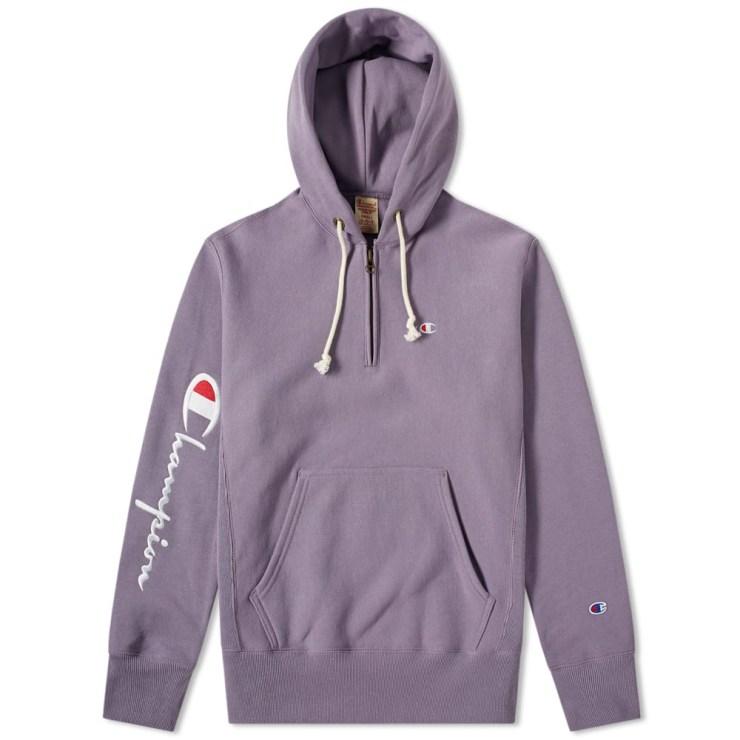 Champion Reverse Weave Half-Zip Hoodie in Plum