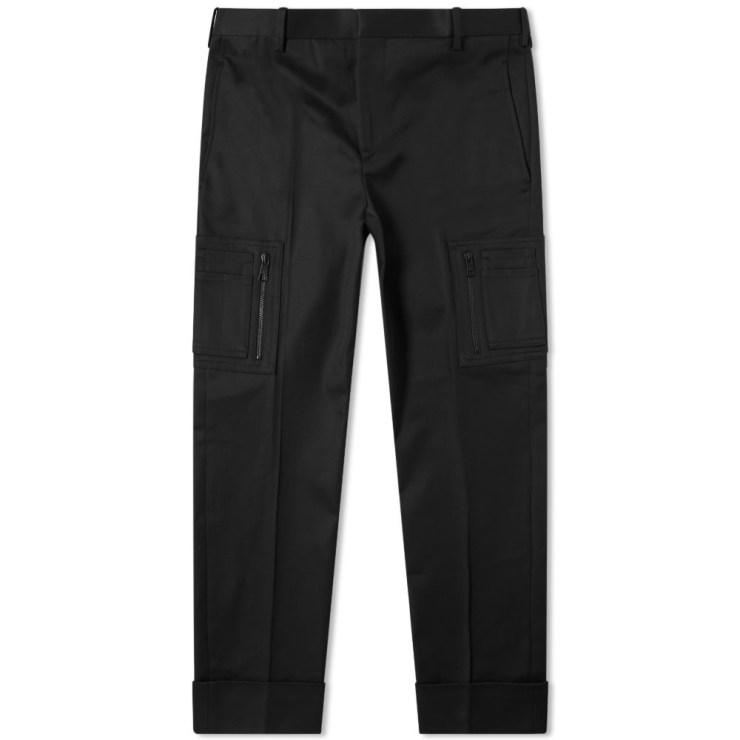 Neil Barrett Zip Cotton Cargo Pants in Black