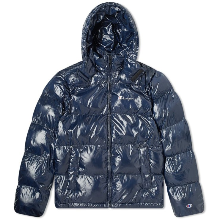 Champion Reverse Weave Hooded Puffer Jacket in Navy
