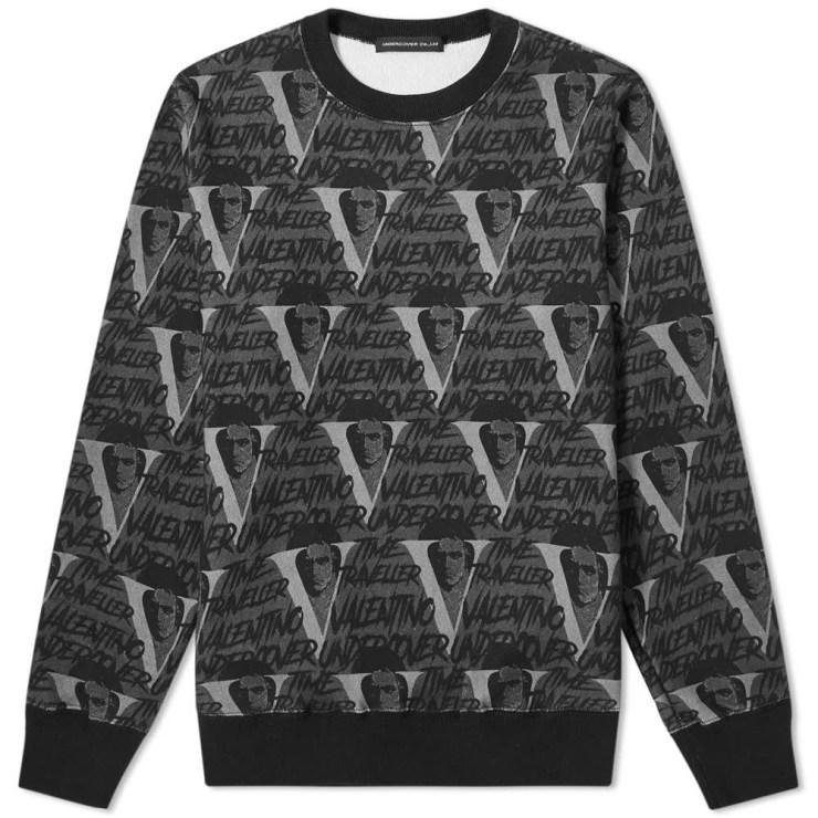 Undercover x Valentino All-Over Print Crewneck Sweatshirt 'Black'