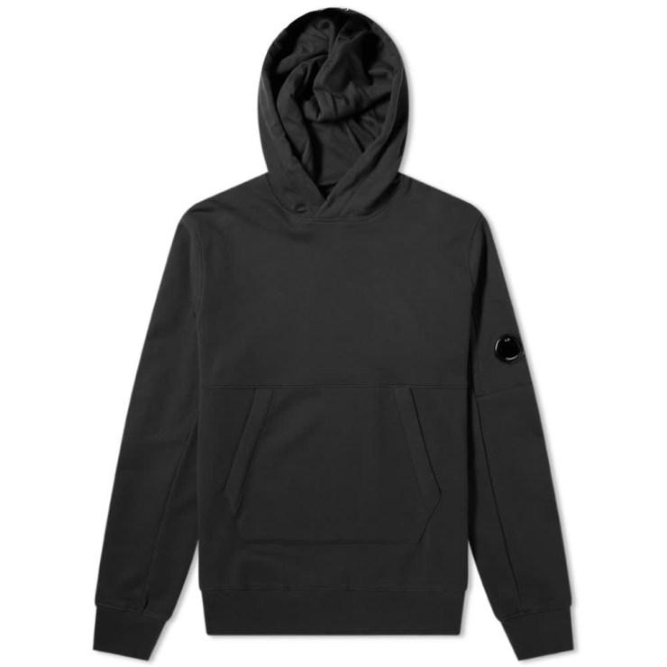 C.P. Company Diagonal Fleece Arm Lens Logo Hoody 'Black'