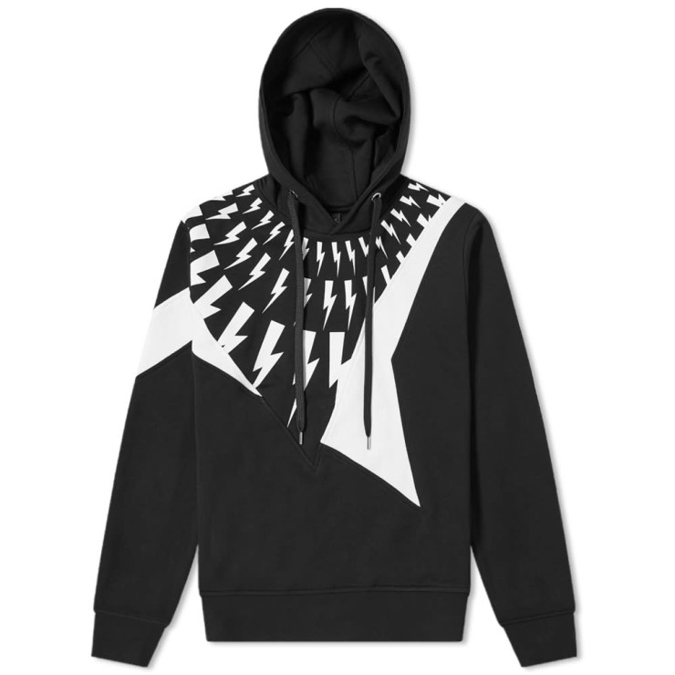 Neil Barrett Lightning Bolt Patchwork Hoody 'Black'