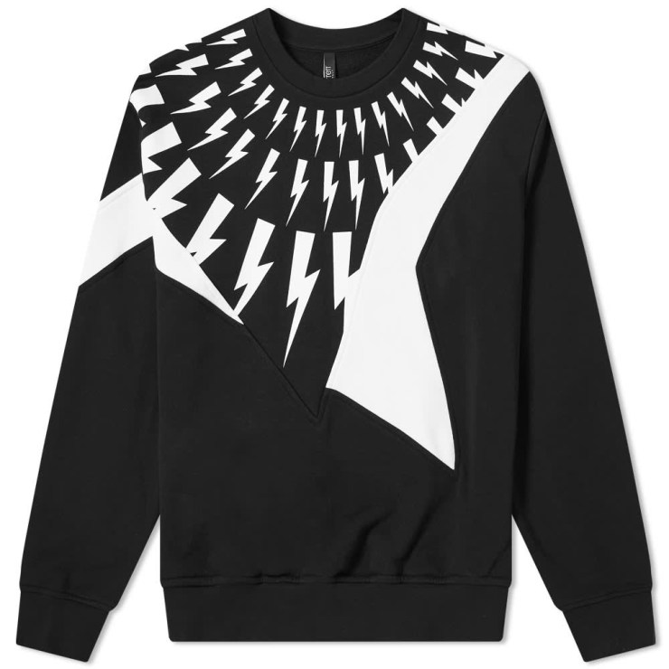 Neil Barrett Panel Lightning Bolt Crewneck Sweatshirt 'Black'