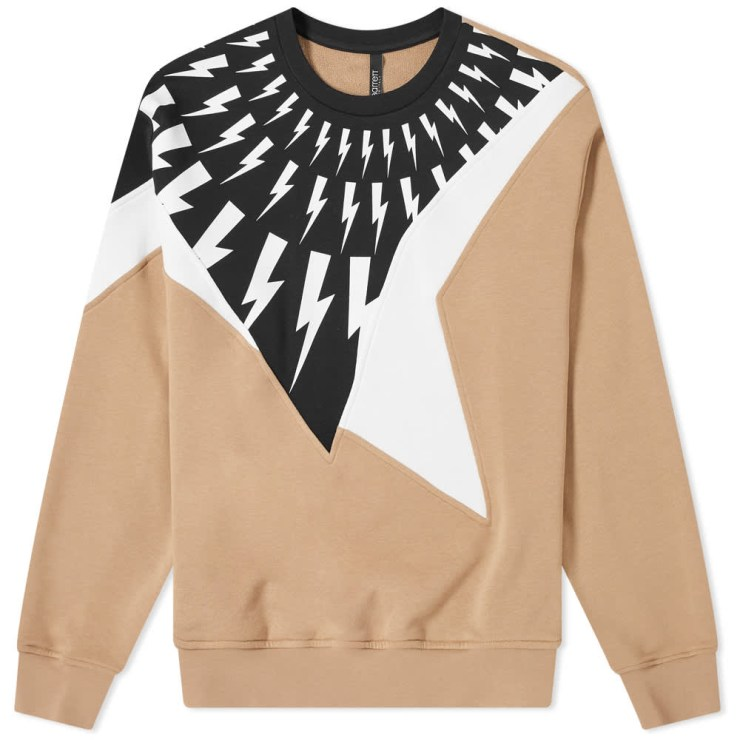 Neil Barrett Panel Lightning Bolt Crewneck Sweatshirt 'Camel'