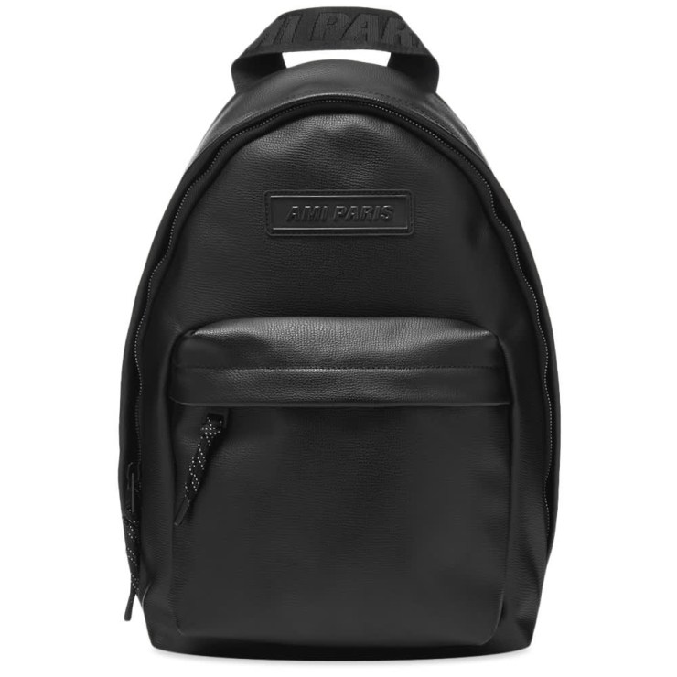 AMI Leather Logo Patch Backpack 'Black'