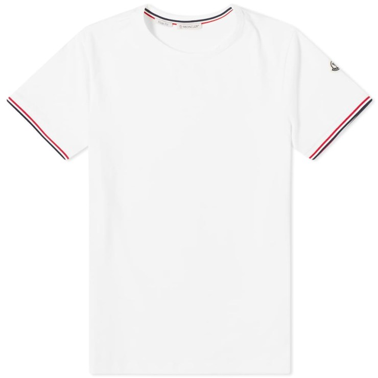 Moncler Striped Sleeves Logo T-Shirt 'White'