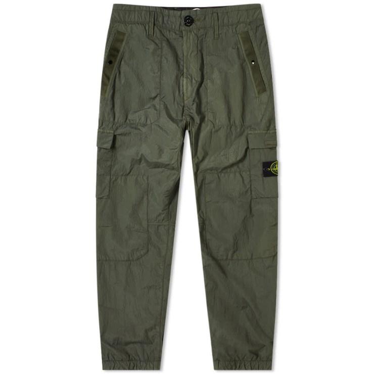 Stone Island Nylon Seersucker Cargo Pants 'Olive'