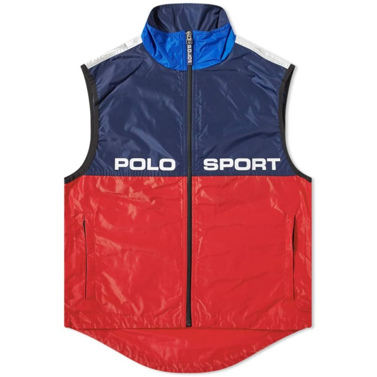 Polo Sport Silver Zip Gilet 'Red & Navy'