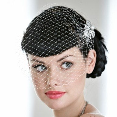 medium length wedding hair, medium length bridal hair , birdcage veil in bridal hair