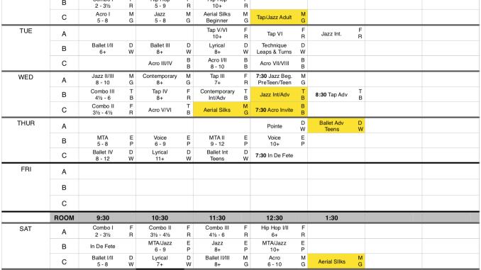 2018 - 2019 Schedule Updated 08/10/2018