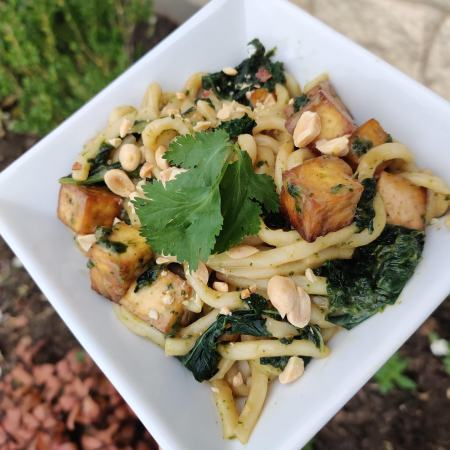 Udon Noodles with Kale and Tofu in Peanut-Lime Sauce