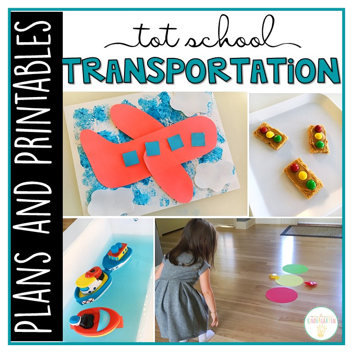 Tons of transportation themed activities and ideas. Weekly plan includes books, literacy, math, science, art, sensory bins, and more! Perfect for tot school, preschool, or kindergarten.