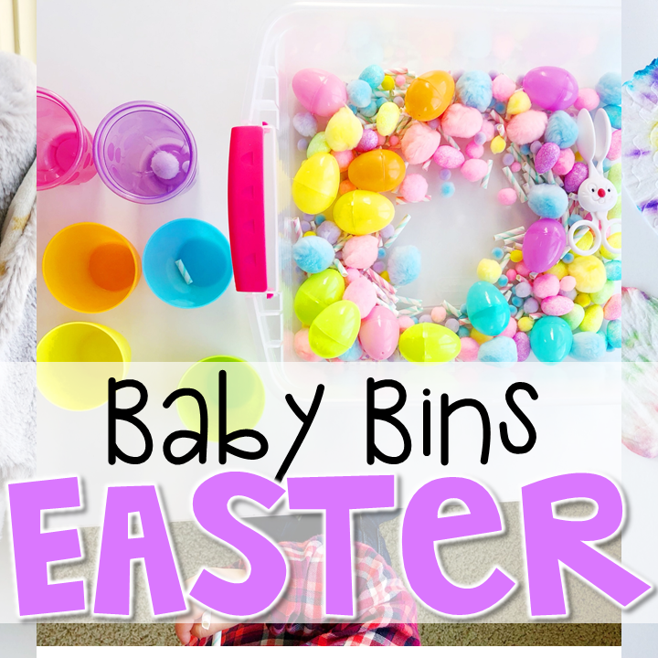 These Easter themed sensory bins and activities are great for learning and play and are completely baby safe. Baby Bins are the perfect way to learn, build language, play and explore with little ones between 12-24 months old.