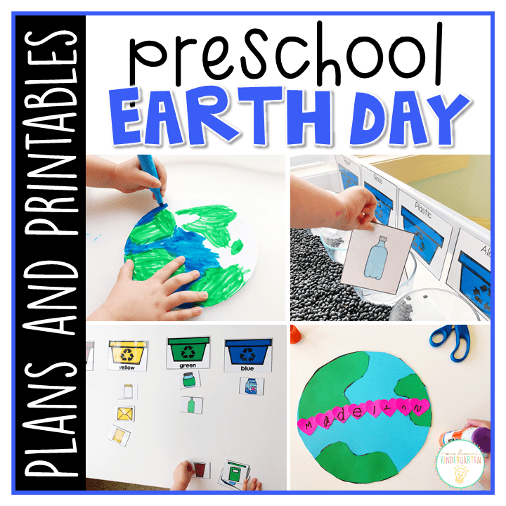 Tons of Earth Day themed activities and ideas. Weekly plan includes books, literacy, math, science, art, sensory bins, and more! Perfect for spring in tot school, preschool, or kindergarten.