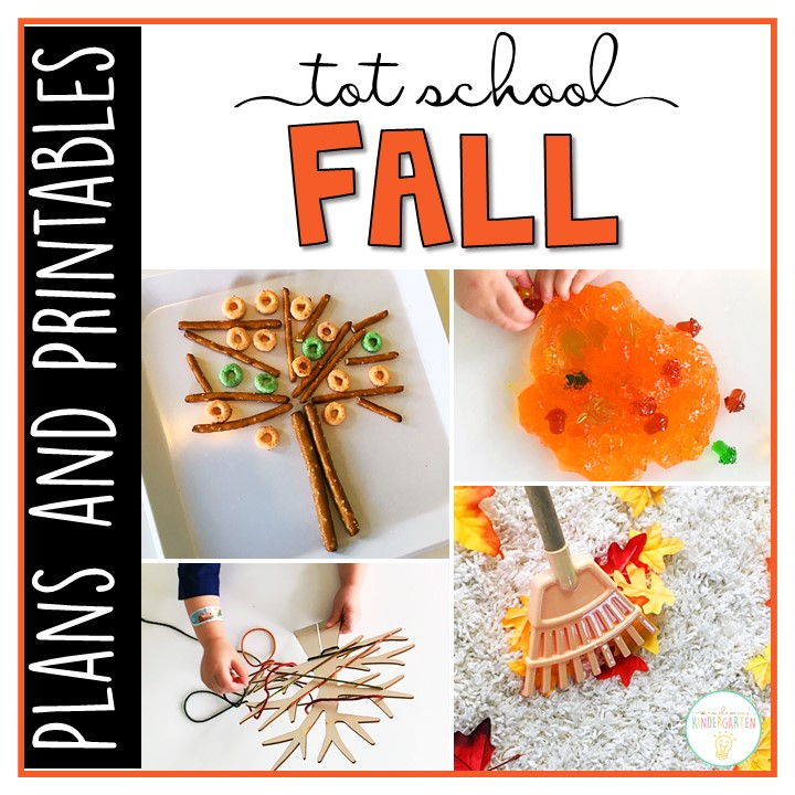 Tons of fall themed activities and ideas. Weekly plan includes books, fine motor, gross motor, sensory bins, snacks and more! Perfect for back to school in tot school, preschool, or kindergarten.