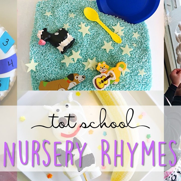 Tons of nursery rhyme activities and ideas. Weekly plan includes books, literacy, math, science, art, sensory bins, and more! Perfect for tot school, preschool, or kindergarten.