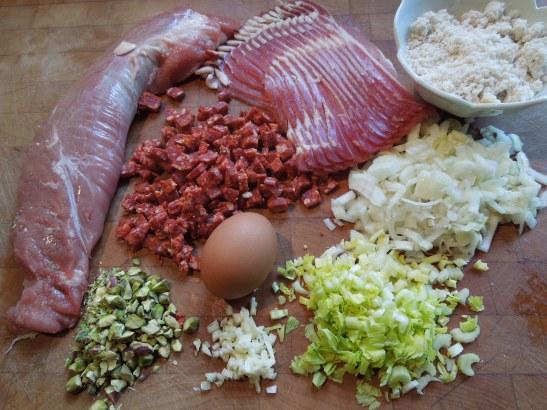 Image of ingredients for stuffed pork fillet