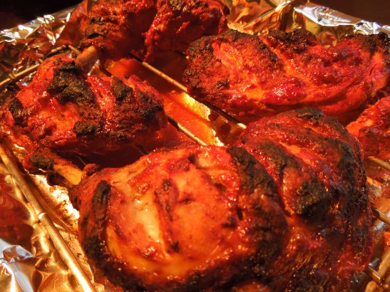 Image of cooked tandoori chicken pieces