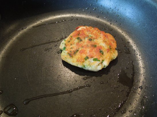 Image of a sample patty being fried