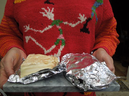 Image of Mrs P in a garish jumper plus cheeses
