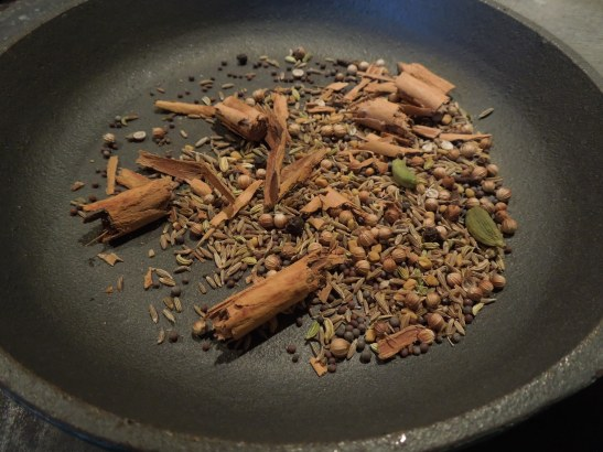 Image of dry frying the spices