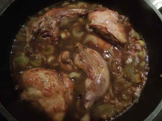 Image of pheasant cooking with celery