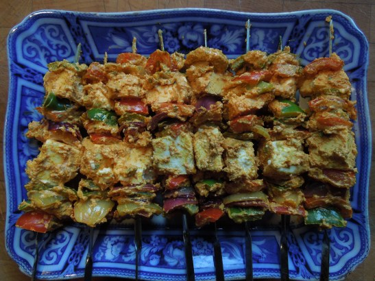 Image of paneer tikka ready for cooking