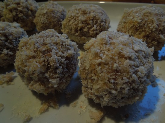 Image of breadcrumbed eggs ready for frying