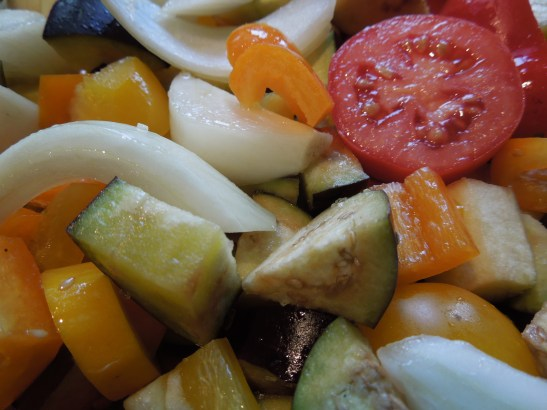 Image of cubed veg ready for roasting