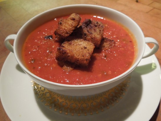 Image of roasted tomato soup with olive croutons