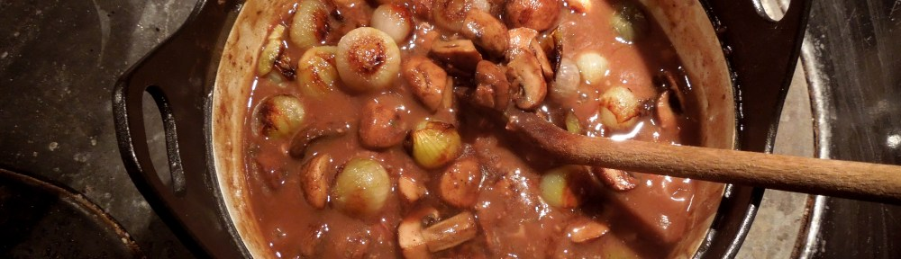 Image of stew with added onions and mushrooms