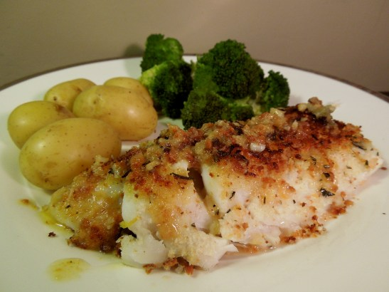 Image of cod with a lemon, rosemary and parmesan crust