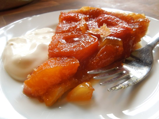 Image of a slice of apricot and ginger tarte tatin