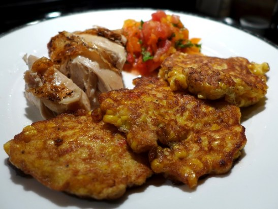 Image of chilli corn fritters, served