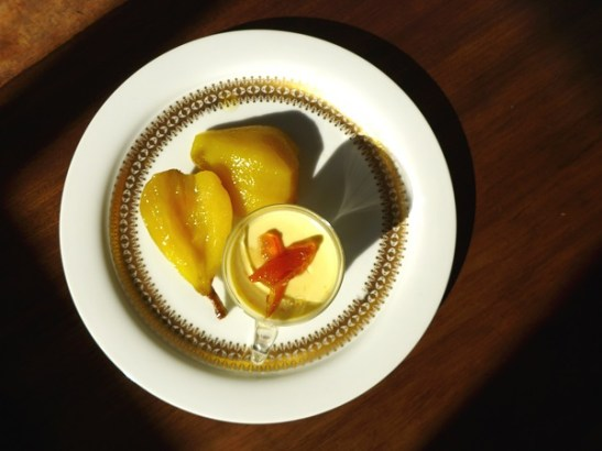 Image of saffron and ginger pears with orange posset, served
