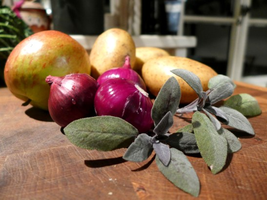 Image of ingredients for potato, apple and sage gratin