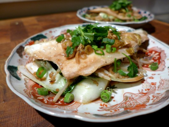 Image of sea bass with ginger and spring onions