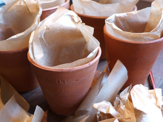 Image of flower pots oiled and lined
