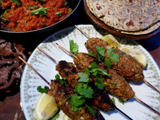 Image of lamb kofta kebabs served